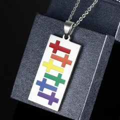 Women Men Stainless Steel Rainbow Pendant Necklace LGBT GAY Couple Jewelry Gifts Rectangle