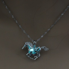 Luminous Steampunk Fly Horse Glow In The Dark Pendant Necklace Womens Jewelry Blue Green