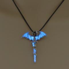 Glow In The Dark Luminous Leather Cross Dragon Pendant Necklace Men's Jewelry Sky Blue