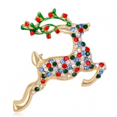 Rhinestone Reindeer Brooches Zinc Alloy Christmas Deer Pin Christmas Present Fashion Jewelry Dress Banquet Accessories Elk Branches