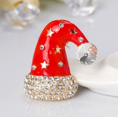 Gold Tone Clear crystal Rhinestone Beautiful Christmas Cap Brooches and Pins Gift hat