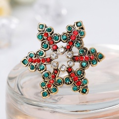 Christmas Snowflake Brooch Bouquet Colorful Crystal Star Snowflakes Pins And Brooches For Women Ladies Girl fashion Jewelry snow