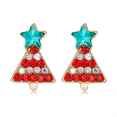 Fashion Crystal Women Lady Xmas Christmas Tree Ear Stud Earrings Jewelry Holiday Christmas Tree