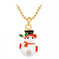 Gold Christmas Series Pendant Bead Chain Necklace Wholesale Snowman