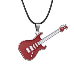 Fashion Stainless Steel Cool Guitar Pendant Necklace Women Men Leather Chain HOT Red