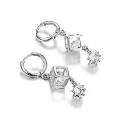 Cute Bowknot Square Stud Earrings Crystal Dangle Earrings Square-Silver