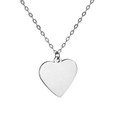 Fashion Love Smooth Stainless Steel Lettering Necklace Necklace Heart