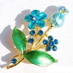 fashion flower plant women's brooch jewelry wholesale Blue