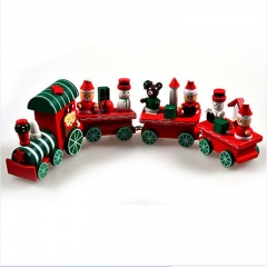 Xmas Wooden Christmas Train Santa Claus Festival Ornament Home Decor Kids Gifts Train