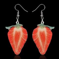 Cute Fruits Pattern Drop Earrings Colorful Cartoon Summer Earrings Women Party Jewelry Strawberry