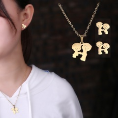 Stainless Steel Gold Plated Horse Heart Pendant Necklace Earrings Jewelry Set Couple