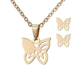 Stainless Steel Gold Plated Horse Heart Pendant Necklace Earrings Jewelry Set Butterfly