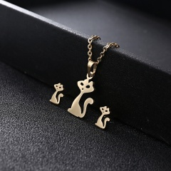 Gold Hollow Women Pendant Necklace Earrings Ear Stud Wedding Jewellery Set Gift Cat