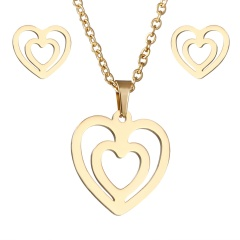 Stainless Steel Gold Plated Horse Heart Pendant Necklace Earrings Jewelry Set 2Heart