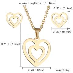 Gold Hollow Women Pendant Necklace Earrings Ear Stud Wedding Jewellery Set Gift Heart