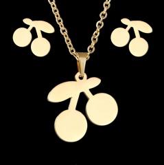 Gold Hollow Women Pendant Necklace Earrings Ear Stud Wedding Jewellery Set Gift Cherry