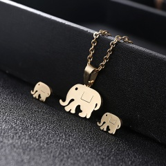 Gold Hollow Women Pendant Necklace Earrings Ear Stud Wedding Jewellery Set Elephant