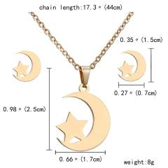 Gold Hollow Women Pendant Necklace Earrings Ear Stud Wedding Jewellery Set Star Moon