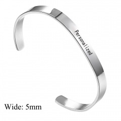 Stainless Seel Smooth Lettering Open Bracelet DIY Custom Bracelet Silver-5mm
