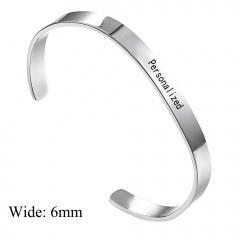 Stainless Seel Smooth Lettering Open Bracelet DIY Custom Bracelet Silver-6mm