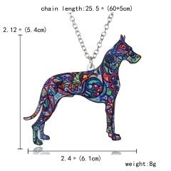 Colorful Printing Animal Cat Dog Horse Dragon Pendant Necklace Gift Hot Dog
