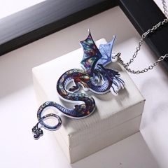 Colorful Printing Animal Cat Dog Horse Dragon Pendant Necklace Gift Hot Dragon