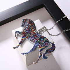 Lovely Printing Flower Animal Horse Camel Giraffe Pendant Necklace Jewelry Gift New Horse