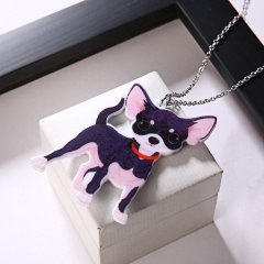 Cute Printing Flower Animal Cat Dog Horse Sun Moon Pendant Necklace Gift New Chihuahua