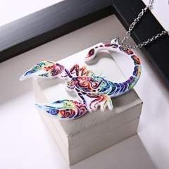 New Fashion Print Pattern Scorpion Animals Pendant Necklace Women Jewelry Gift Scorpion Blue