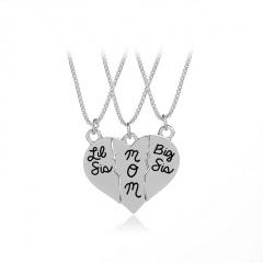 3pcs Set Necklace Letters Pendant  Lit sis/MOM/big sis Heart 1