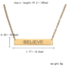 DIY Personalized Custom Stainless Steel Free Engraving Name Bar Necklace Gift Gold