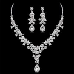 Rhinestone Necklace Earrings Wedding Jewelry Set Crystal