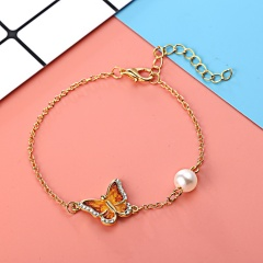 3 Color Crystal Butterfly and Flower Charm Bracelet Romantic Butterfly Design Golden Plated Wedding Bracelet Girl's Accessory Yellow