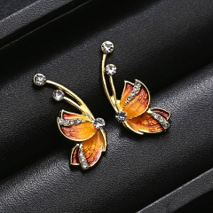 1 Pair Colorful Butterfly Painting Oil Pendant Earrings Fashion Women Jewelry Yellow