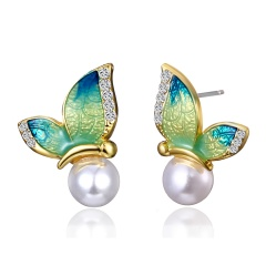 Charm Crystal Rhinestone Pearl Flying Butterfly Pendant Necklace Jewellery Gift Earring