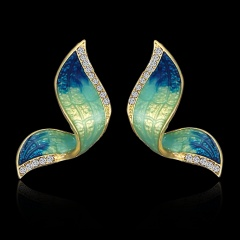 1 Pair Fashion Butterfly Wings Painted Oil Earrings Blue