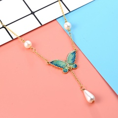 New Fashion Crystal Pearl butterfly Pendant Chain Necklace Women Jewelry Party New Blue