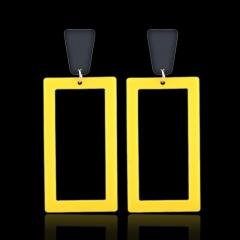 Rectangular Acrylic Alloy Hollow Fashion Earrings Yellow