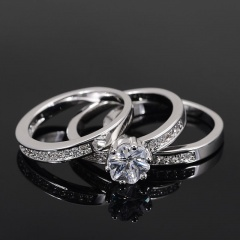 3 Pieces/set Stone Silver Wedding Ring 7