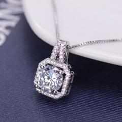 Fashion Crystal CZ Charm Pendant Jewelry Chain Chunky Statement Choker Necklace Silver
