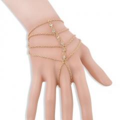 Fashion multi-layer bracelet inlaid white rhinestone finger bracelet charm jewelry accessories gift gold