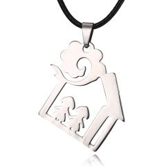 Sister and Sister Family of Two Pendant Necklace silver