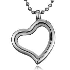 Mixed Living Memory Floating Charms Glass Round Heart Locket Pendant Necklace Heart Heart Silver