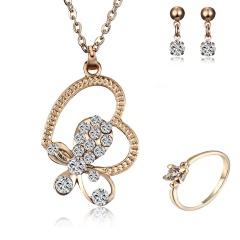 Elegant Crystal Rhinestone Flower Butterfly Dragon Necklace Earrings Jewelry Set Butterfly