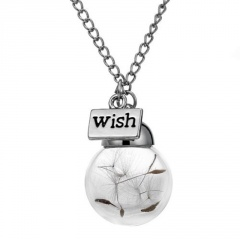 Fashion Real Dandelion Seeds Glass Lucky Wishing Bottle Pendant Necklace Summer Dandelion