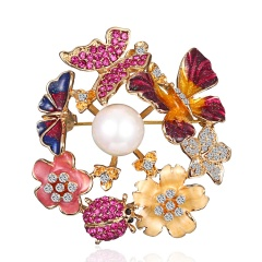 Spring Tree Rose Flower Cactus Plant Butterfly Brooch Pin Crystal Rhinestone Imitation Pearl Brooches Women Jewelry Boutonniere butterfly