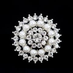 Fashion Women Large Brooches Lady Snowflake Imitation Pearls Silver Rhinestones Crystal Wedding Brooch Pin Jewelry Accessories flower1