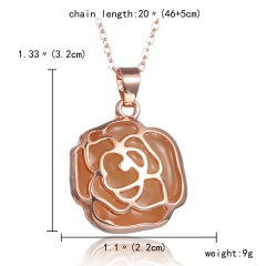 Magic Steampunk Rose Flower Glow in The Dark Pendant Necklace Womens Jewellery Gift Rose gold Purple