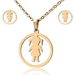 Fashion Jewelry Set Stainless Steel Womens Gold Pendant Necklace Earrings Gifts Girl