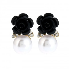 Rose Flower Pearl Earrings Jewelry Rose